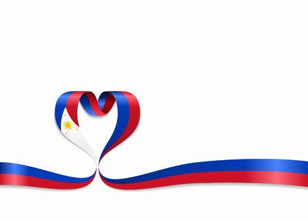 Philippines flag heart-shaped wavy ribbon. Vector illustration. Illusztráció