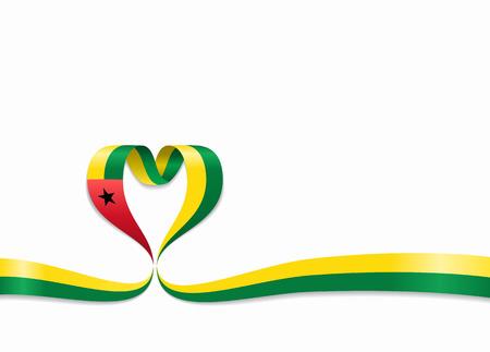 Guinea-Bissau flag heart-shaped wavy ribbon. Vector illustration.