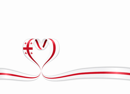 Georgian flag heart-shaped wavy ribbon. Vector illustration.