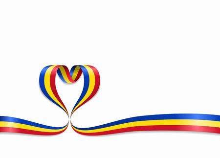 Roemeense vlag hartvormig golvend lint. Vector illustratie.