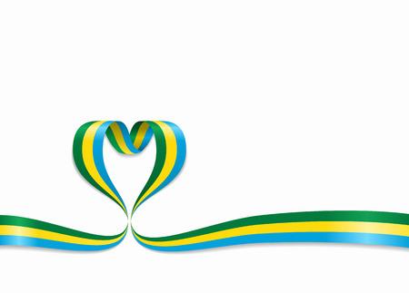 Gabon flag heart-shaped wavy ribbon. Vector illustration.