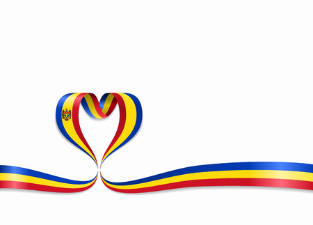 Moldovan flag heart-shaped wavy ribbon. Vector illustration.