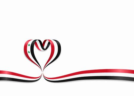 Syrian flag heart-shaped wavy ribbon. Vector illustration.