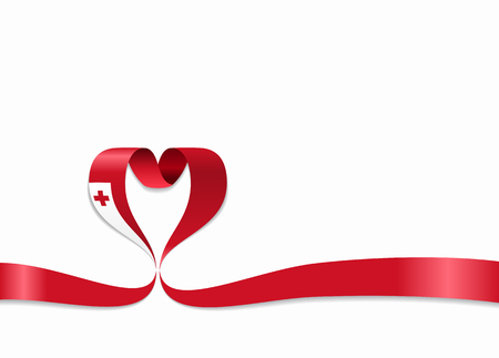 Tonga flag heart-shaped wavy ribbon. Vector illustration.