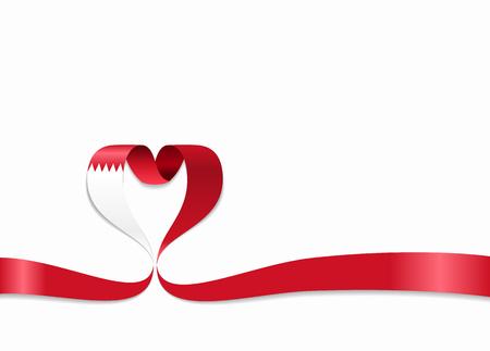 Bahrain flag heart-shaped ribbon. Vector illustration. Illusztráció