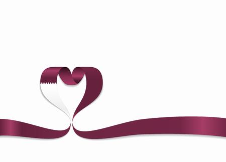 Qatari flag heart-shaped ribbon. Vector illustration.