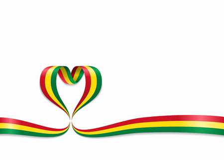 Bolivian flag heart-shaped wavy ribbon. Vector illustration.