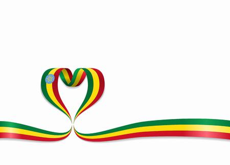 Ethiopian flag heart-shaped wavy ribbon. Vector illustration. Illustration