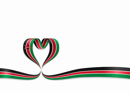 Kenyan flag heart-shaped ribbon. Vector illustration. Vectores