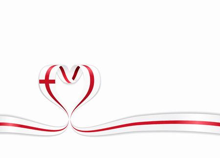 English flag heart-shaped wavy ribbon. Vector illustration. Illusztráció