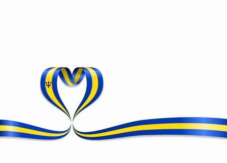 Barbados flag heart-shaped wavy ribbon. Vector illustration.