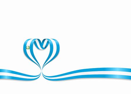 Guatemalan flag heart-shaped wavy ribbon. Vector illustration.