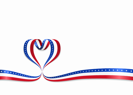 American flag heart-shaped wavy ribbon. Vector illustration.