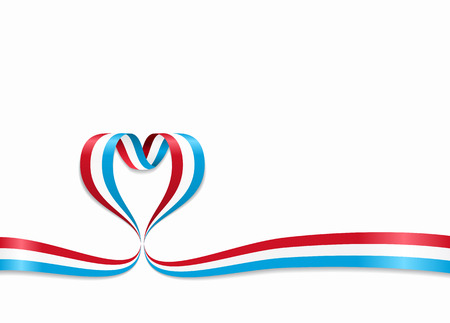 Luxembourg flag heart-shaped ribbon. Vector illustration.