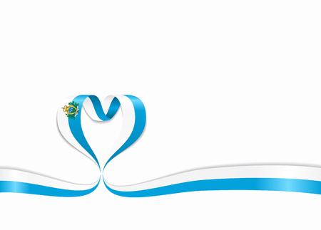 San Marino flag heart-shaped wavy ribbon. Vector illustration. Illusztráció