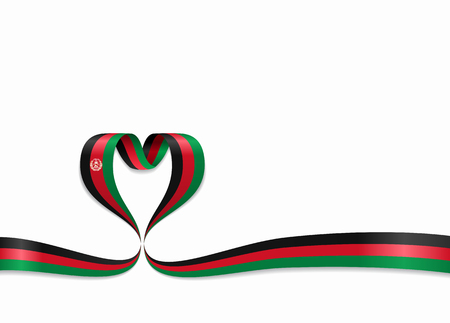 Afghanistan flag heart-shaped ribbon. Vector illustration. Stock Photo