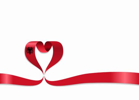 Albanian flag heart-shaped ribbon. Vector illustration.