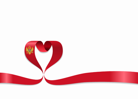 Montenegrian flag heart-shaped ribbon. Vector illustration.