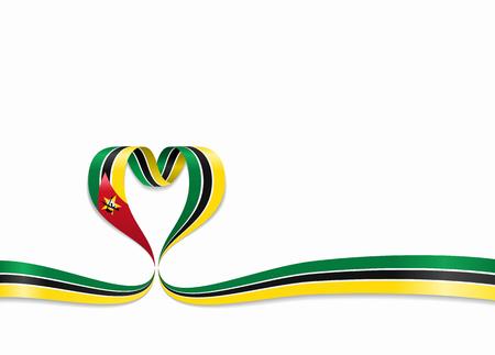 Mozambique flag heart-shaped ribbon. Vector illustration.