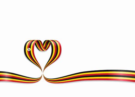 Ugandan flag heart-shaped ribbon. Vector illustration. Stok Fotoğraf