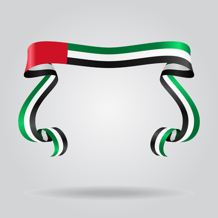 United Arab Emirates wavy flag abstract background. Vector illustration. Иллюстрация