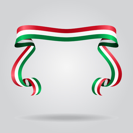 Hungarian wavy flag abstract background. Vector illustration.