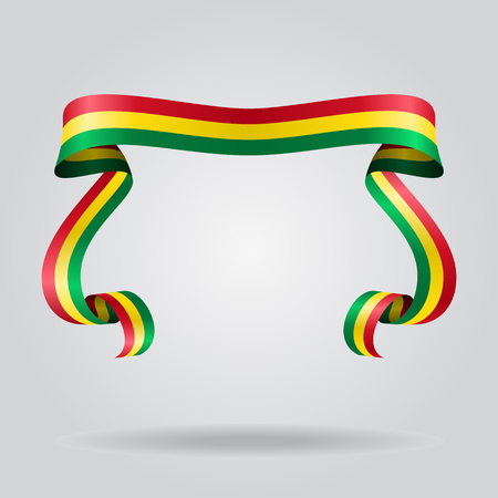 Bolivian wavy flag abstract background. Vector illustration.