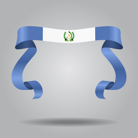 Guatemalan flag wavy ribbon background. Vector illustration.