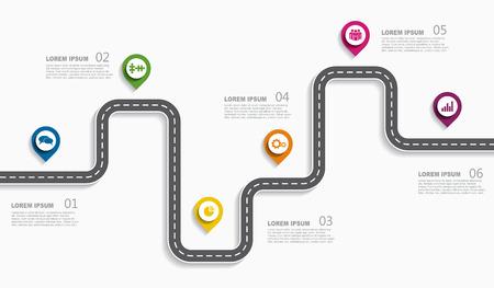 Concepto de línea de tiempo de infografía de hoja de ruta de navegación con lugar para datos. Ilustración vectorial.
