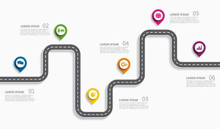 Navigatie routekaart infographic tijdlijn concept met plaats voor gegevens. Vector illustratie.