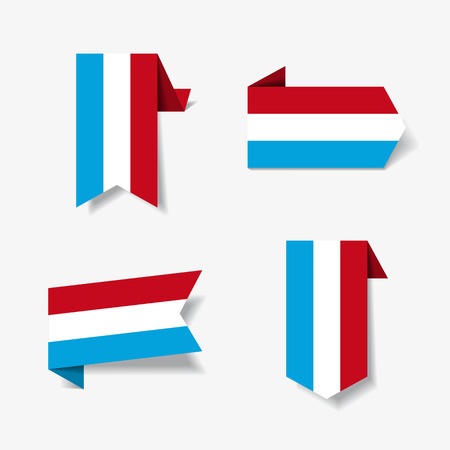 Luxembourg flag stickers and labels. Vector illustration.