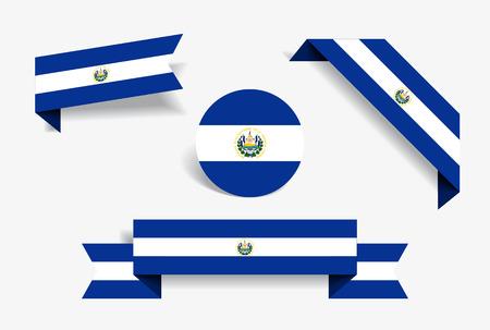 El Salvador flag stickers and labels. Vector illustration.