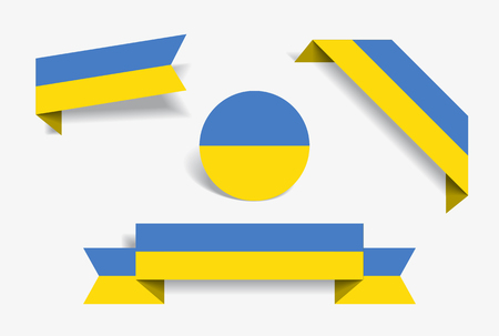 Ukrainian flag stickers and labels set. Vector illustration. Vettoriali