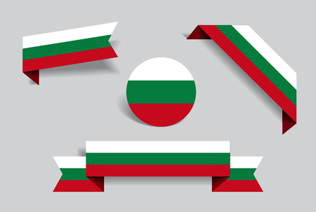 Bulgarian flag stickers and labels set. Vector illustration.