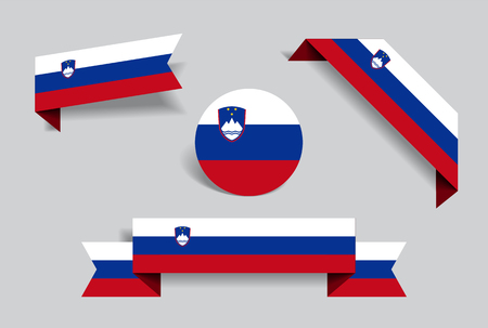 Slovenian flag stickers and labels. Vector illustration.