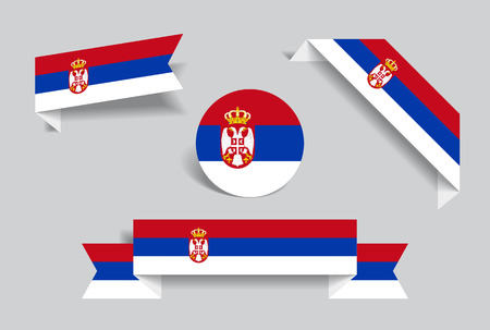 Serbian flag stickers and labels. Vector illustration.