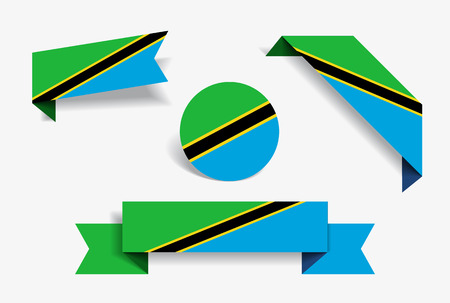 Tanzanian flag stickers and labels set. Vector illustration.