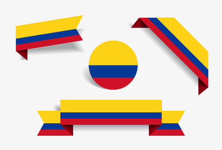 Colombian flag stickers and labels set. Vector illustration. Ilustrace