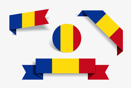 Romanian flag stickers and labels set. Vector illustration.