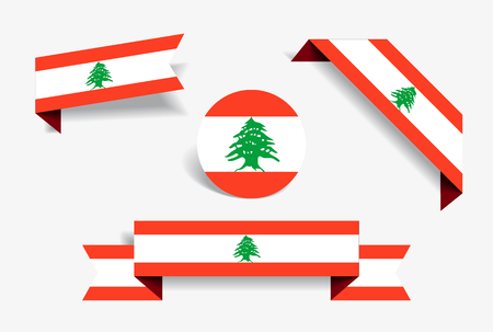 Lebanese flag stickers and labels. Vector illustration.