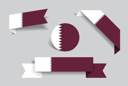 Qatari flag stickers and labels set. Vector illustration. Illustration
