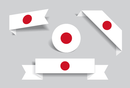 Japanese flag stickers and labels set. Vector illustration. Vettoriali