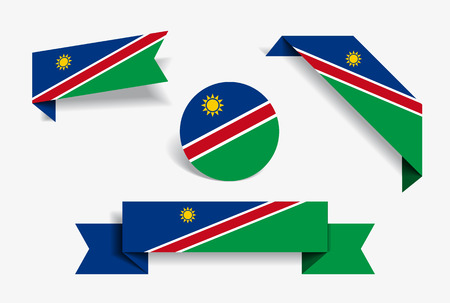 Namibian flag stickers and labels set. Vector illustration. Çizim
