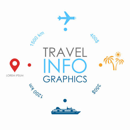 Travel infographic design template with place for your data. Vector illustration.