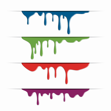 Different paint dripping, abstract blob on background. Vector illustration. 일러스트