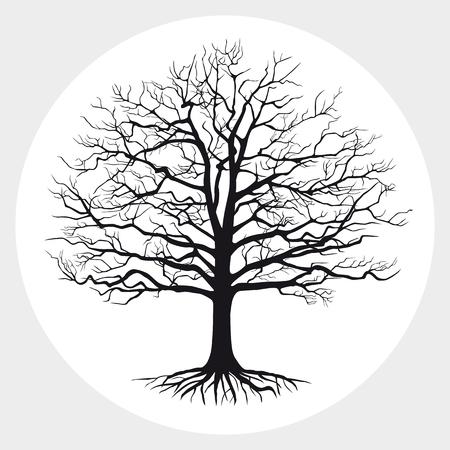 Silhouette noire d'un arbre. Illustration vectorielle.