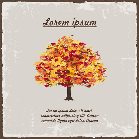 Old autumn tree on vintage paper. Vector illustration