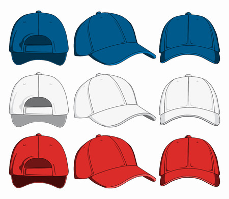 Set of baseball caps, front, back and side view. Vector illustration Illustration