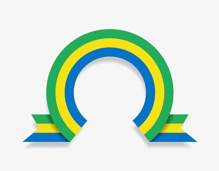 Gabon flag rounded ribbon abstract background. Vector illustration. Ilustração