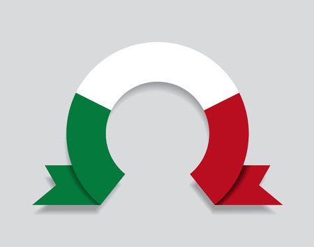 Italian flag rounded ribbon abstract background. Vector illustration.